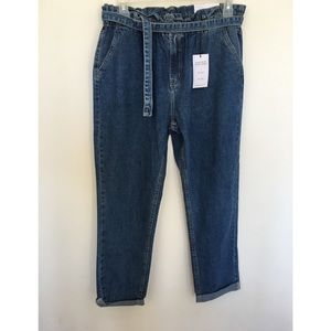 NEW HIGH RISE MOM JEANS WITH TIE